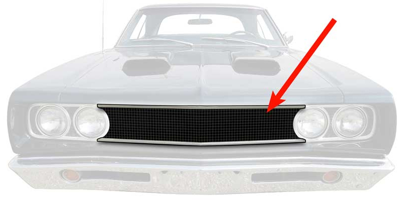 Grille - Black - 68 Coronet 500; 68 Coronet R/T; 69 Charger 500