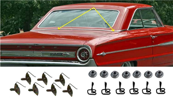 Back Belt Molding Set w/ Hardware - 64 Galaxie Fastback
