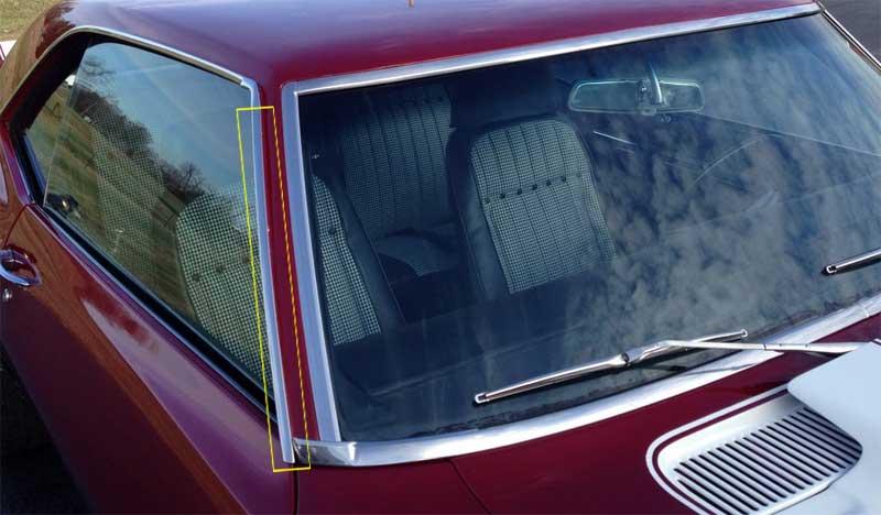 Roof Drip Molding - Vertical - RH - 67-69 Camaro Firebird