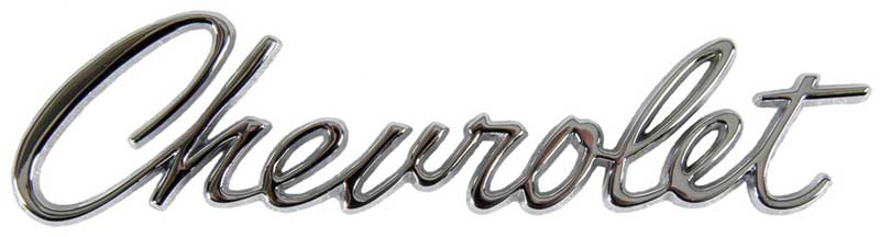 "Header Panel or Trunk Lid Emblem (Sold Each) - ""Chevrolet\"" Script - 67 Camaro"