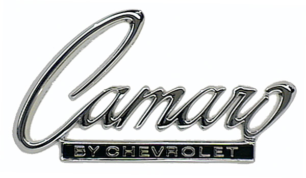 "Header Panel or Trunk Lid Emblem (Sold Each) - ""Camaro by Chevrolet\"" - 68-69 Camaro"