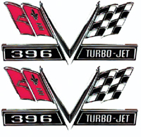 Fender Emblems - 396 Turbo-Jet Flag - 65-67 Camaro Chevelle El Camino Impala (Sold as a Pair)
