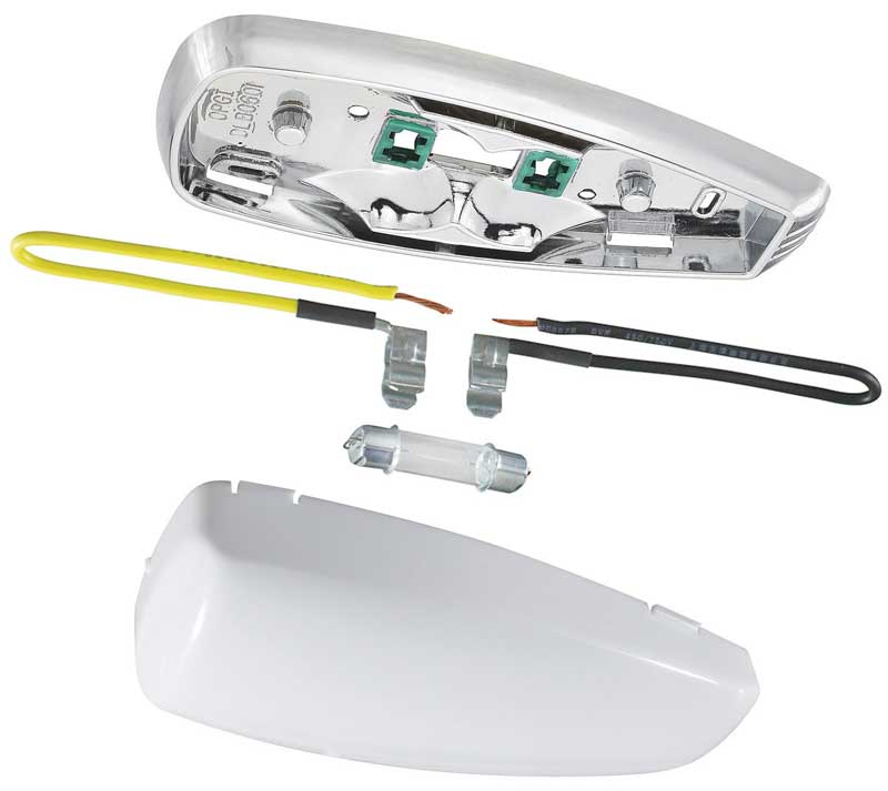 Interior Dome Lamp Assembly (Base, Lens, Bulb U0026 Wire Leads)