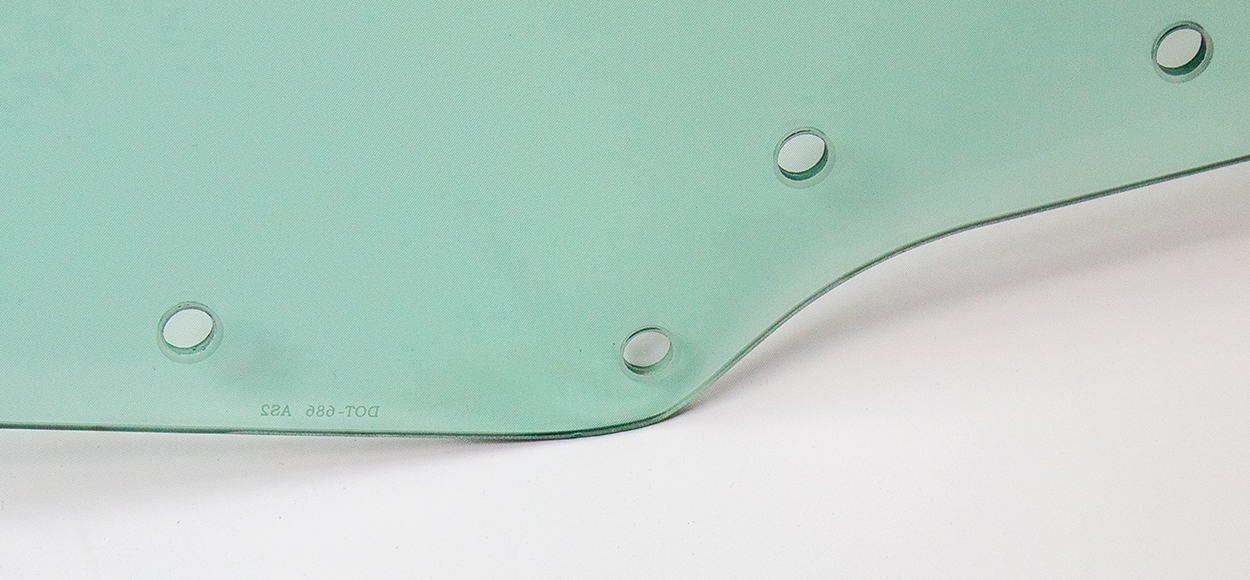 Door Glass w/ 8 Holes - Green Tint - LH - 70-72 GM A-Body Coupe & Convertible; 70-72 Grand Prix