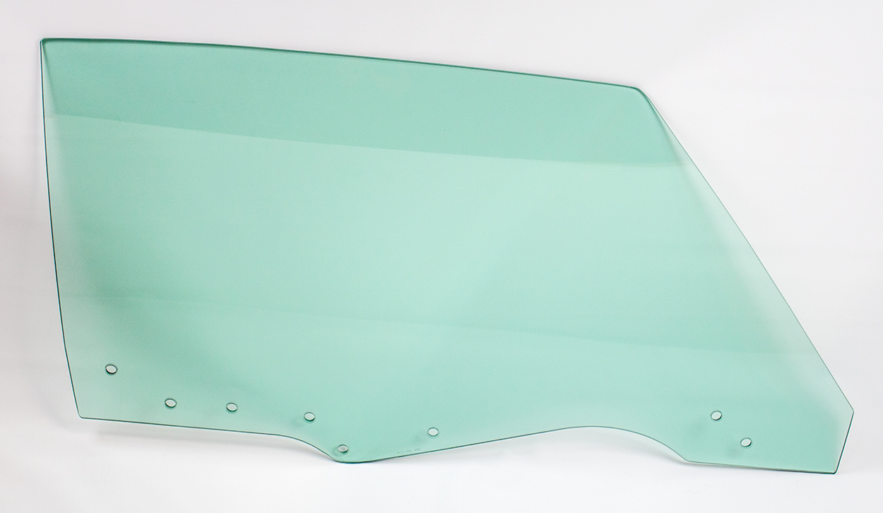 Door Glass w/ 8 Holes - Green Tint - RH - 70-72 GM A-Body Coupe & Convertible; 70-72 Grand Prix