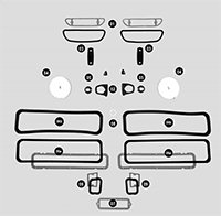 Paint Gasket Set without Molded Rubber Taillight Gaskets - 63 330; 440