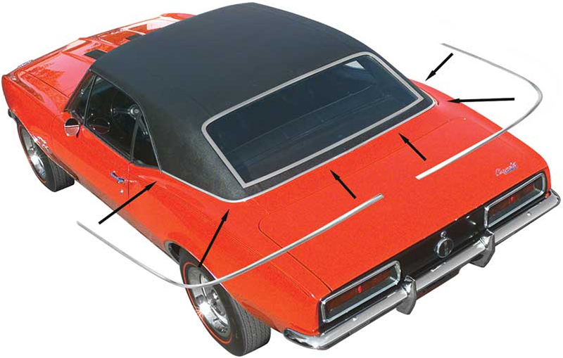 Vinyl Top Moldings Set - LH/RH Pair with Hardware - 67-68 Camaro Firebird