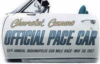 67 Camaro INDY 500 Pace Car Door Decal Set